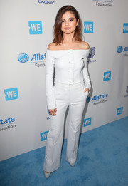 Selena Gomez stayed on trend in a pale-blue gingham off-the-shoulder top by Brock Collection during WE Day California.