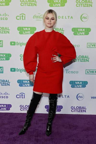 Selena Gomez Over the Knee Boots [image,sleeve,smile,street fashion,knee,red,fashion design,knee-high boot,magenta,thigh,electric blue,outerwear,carpet,selena gomez,global citizen vax live,red,street fashion,inglewood,california,the concert to reunite the world,t-shirt,red carpet,red,tights,shoe,carpet,outerwear / m,celebrity,outerwear,personality]