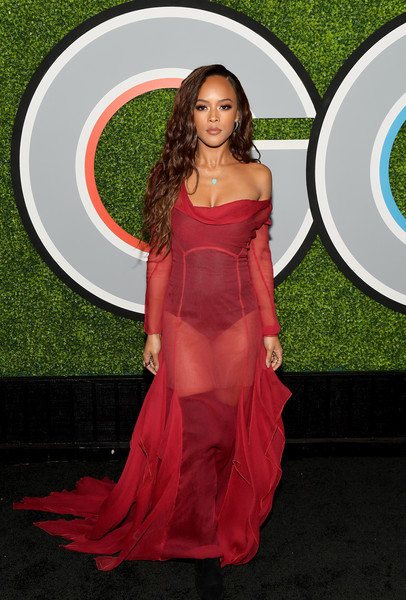 Serayah McNeill Sheer Dress [red carpet,clothing,dress,carpet,red,flooring,pink,gown,long hair,formal wear,arrivals,serayah,caption,chateau marmont,california,los angeles,gq men of the year party,party,getty images,gq men of the year]