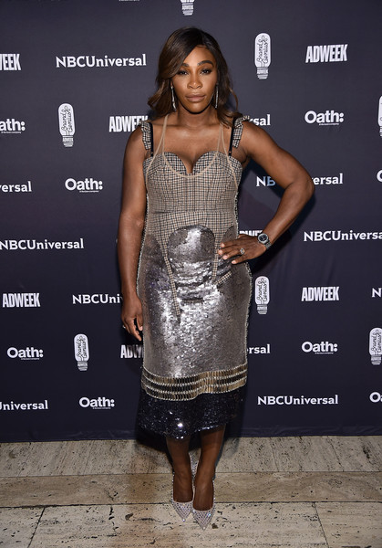 Serena Williams Studded Heels [clothing,dress,cocktail dress,fashion model,fashion,shoulder,joint,fashion design,premiere,muscle,cipriani 25 broadway,new york city,brand genius awards,serena williams]