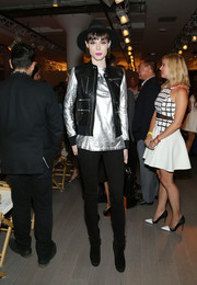Coco Rocha went for an edgy-meets-futuristic look with this black moto vest and silver top combo at the Serena Williams Signature Statement by HSN show.