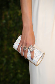 Rose Byrne opted for an elegant white crystal clutch to top off her Oscar-party look.