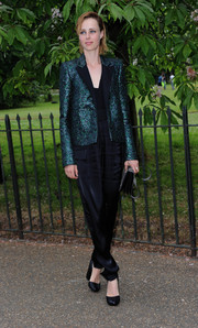 Edie Campbell was androgynous-chic in a sequined blue jacket layered over a black jumpsuit at the Serpentine Gallery Summer Party.