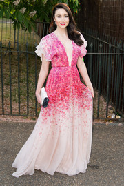 Emma Miller was a blooming beauty in her pink floral gown during the Serpentine Gallery Summer Party.