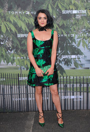Maisie Williams attended the Serpentine Summer Party wearing a textured black and green mini dress by Milly.