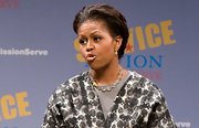 Michelle Obama swept her hair back in a loose updo for the launch of Mission Serve: Forging a Continuum of Service.