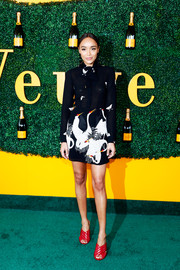 Ashley Madekwe looked sharp in a printed mini dress by Reformation at the Veuve Clicquot Polo Classic.
