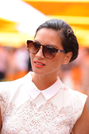 Olivia Munn accessorized with a chic pair of Wildfox tortoiseshell wayfarers during the Veuve Clicquot Polo Classic.