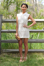 Olivia Munn's pins were on full display in a super-short Lover the Label LWD during the Veuve Clicquot Polo Classic.