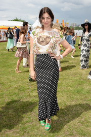 Julia Restoin-Roitfeld looked very ladylike in her floral blouse during the Veuve Clicquot Polo Classic.