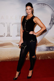 Megan Gales looked hot at the 'Sex and the City 2' premiere in a pair of sheer black harem pants with peekaboo detailing.