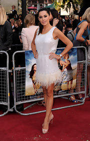 Danielle Lineker looks fab in this flapper inspired white cocktail dress.