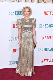 Gillian Anderson looked radiant in her gold gown at the world premiere of 'Sex Education' season 2.