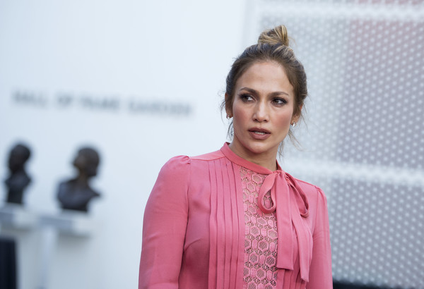 Jennifer Lopez styled her locks into a top knot for the Shades of Blue Television Academy event.