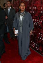 Phylicia Rashad went for exotic elegance in a tasseled gray robe during the Broadway opening of 'Shakespeare's Romeo and Juliet.'