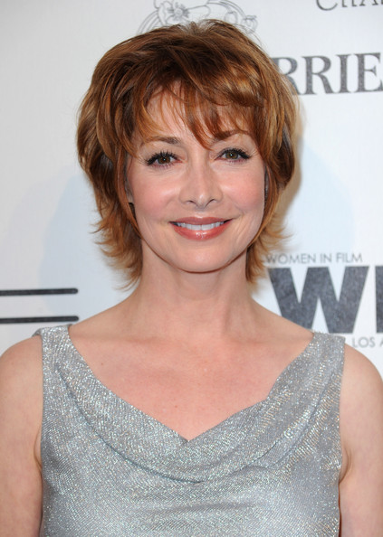 Sharon Lawrence Layered Razor Cut [hair,face,hairstyle,blond,eyebrow,chin,lip,brown hair,bangs,shoulder,sharon lawrence,arrivals,residence,california,los angeles,bel air,3rd annual women in film pre-oscar party]