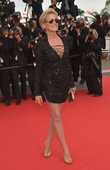 Sharon Stone Shirtdress [the search premieres,the search,red carpet,carpet,clothing,flooring,premiere,dress,fashion,little black dress,event,footwear,sharon stone,cannes,france,premiere,cannes film festival]