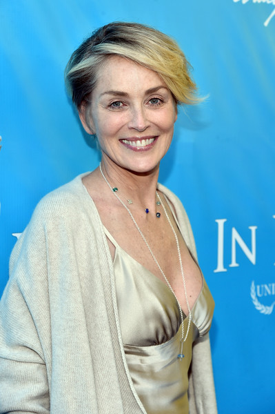 Sharon Stone Short Side Part [hair,face,hairstyle,blond,eyebrow,skin,chin,smile,lip,premiere,ban ki-moon,brett ratner,sharon stone,secretary-general,private residence,los angeles,david raymond host special event,event,un,red carpet]