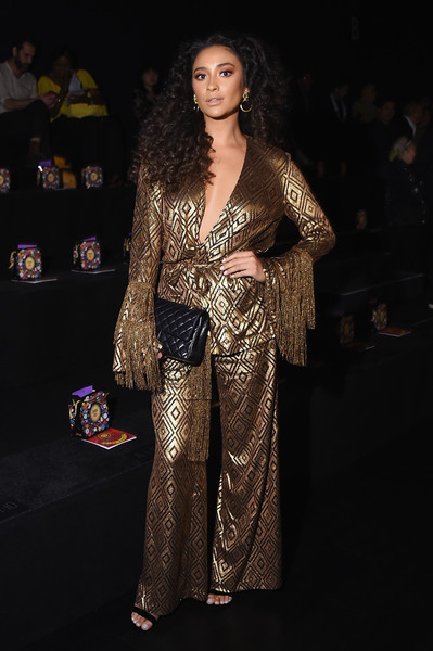 Shay Mitchell Quilted Clutch [shows,the shows,fashion model,fashion,flooring,model,fashion show,girl,formal wear,fashion design,carpet,long hair,anna sui,shay mitchell,front row,new york city,gallery 1,skylight clarkson sq,new york fashion week,fashion show]