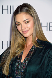 Demi-Leigh Nel-Peters wore her hair long and sleek-straight at the Sherri Hill fashion show.