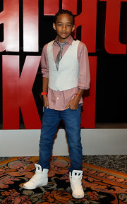 Jaden Smith matched chunky white basketball shoes with his sleek outfit at the 2012 ShoWest.