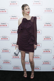 Whitney Port looked fab in an off-one-shoulder polka-dot dress by Self-Portrait at the Shopbop Diner.