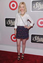 January Jones arrived at the Shops at Target launch party wearing a pair of strappy patent leather heeled sandals.
