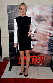 Yvonne opted for a mod-inspired look with this black-and-white long-sleeve dress.
