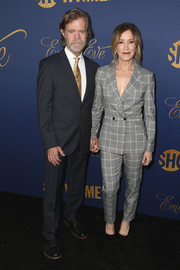 Felicity Huffman looked smart in a patterned gray pantsuit at the Showtime Emmy nominees celebration.