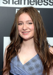 Emma Kenney sported an edgy wavy 'do at the celebration of the 100th episode of 'Shameless.'