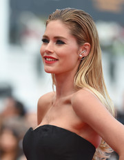Doutzen Kroes wore her long hair loose and slicked back at the top during the 'Sicario' premiere in Cannes.