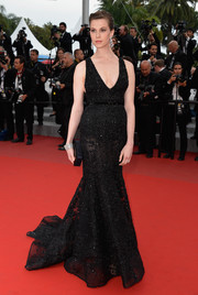 Elettra Wiedemann looked supremely elegant in a beaded black gown by Elie Saab Couture at the 'Sicario' premiere in Cannes.