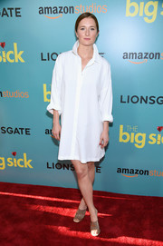 Grace Gummer teamed her LWD with a pair of clear PVC mules.