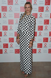 Here's a daring look! Virginie was decked out in head-to-toe checkers for the Sidaction Gala Dinner.