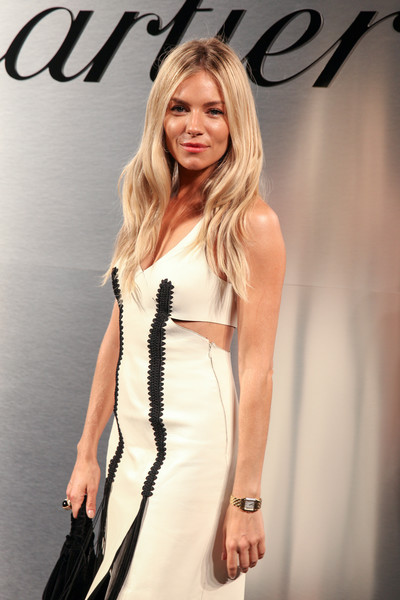 Sienna Miller Gold Bracelet Watch [cartier celebrates the launch of santos de cartier watch,hair,fashion model,clothing,dress,blond,hairstyle,beauty,fashion,long hair,shoulder,arrivals,sienna miller,red carpet,california,san francisco,pier 48,santos de cartier watch launch]