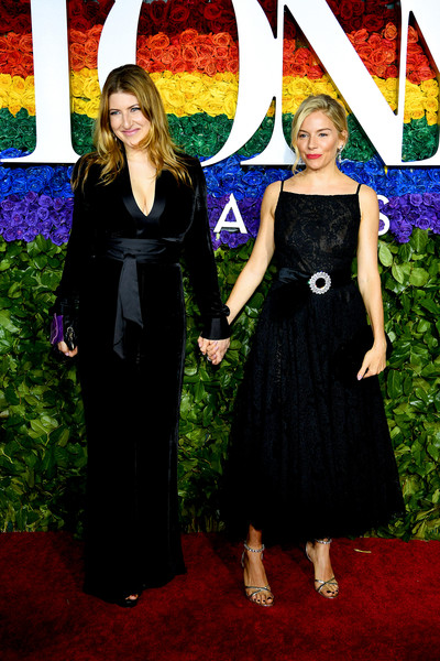Sienna Miller Strappy Sandals [red carpet,clothing,dress,carpet,fashion,formal wear,event,red carpet,little black dress,flooring,premiere,sienna miller,tony awards,new york city,radio city music hall,annual tony awards]