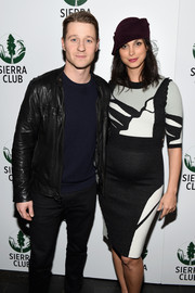 Morena Baccarin attended the Sierra Club's Act in Paris wearing a monochrome knit maternity dress.