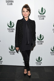 Keri Russell was androgynous-chic in a textured blazer paired with leather skinnies at the Sierra Club's Act in Paris.