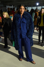 Paloma Elsesser sported an all-navy fur coat, top, and pants combo at the Sies Marjan Fall 2020 show.
