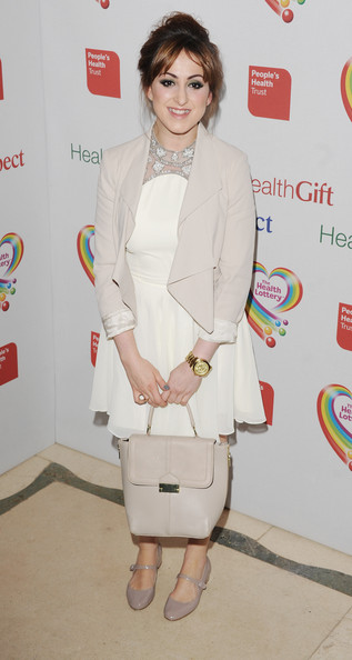 Natalie Cassidy chose a white frock with a silver embellished neckline for the Health Lottery Fundraising Event.