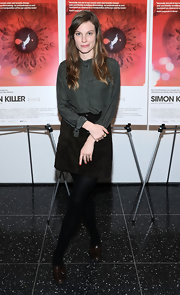A suede mini skirt topped off Lindsay Burdge's preppy evening look at the 'Simon Killer' premiere in New York.