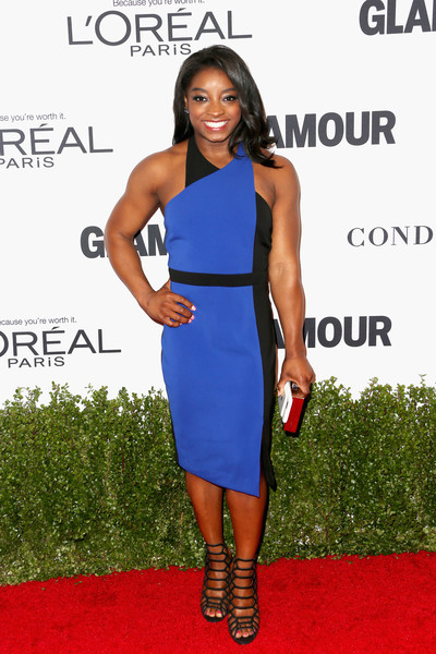 Simone Biles Strappy Sandals [flooring,shoulder,carpet,joint,fashion model,dress,cocktail dress,electric blue,fashion,red carpet,arrivals,simone biles,neuehouse hollywood,california,los angeles,glamour women of the year,olympic]