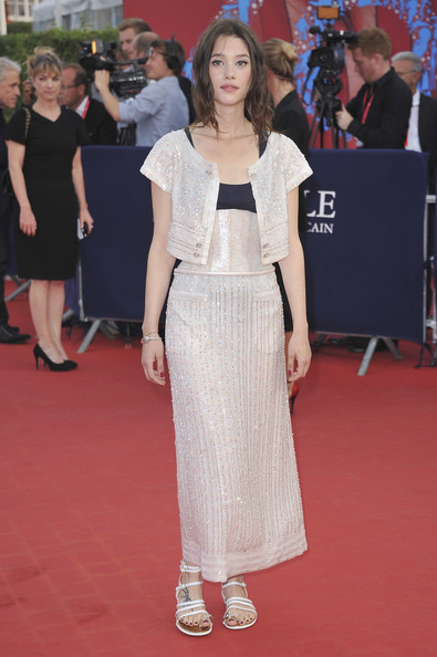 Astrid Berges Frisbey kept it demure in an ankle-length, beaded dress with a matching bolero at the Deauville American Film Fest premiere of 'Sin City: A Dame to Kill For.'