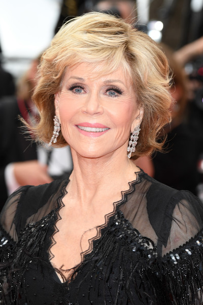 Jane Fonda stuck to her signature textured bob when she attended the Cannes Film Festival screening of 'Sink or Swim.'