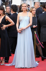 Diane Kruger looked like a goddess in a crystal-adorned one-shoulder gown by Armani Prive at the Cannes Film Festival screening of 'Sink or Swim.'