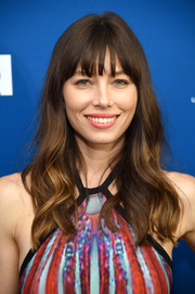 Jessica Biel attended the premiere of 'The Sinner' wearing her signature loose waves with wispy bangs.