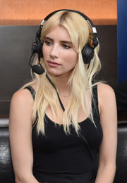 Emma Roberts looked like Barbie with her platinum-blonde waves while attending SiriusXM's broadcasts from Comic-Con.