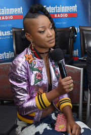 Keke Palmer looked totally funky in her flower-embellished metallic bomber jacket while attending SiriusXM's broadcasts from Comic-Con.