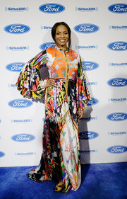 MC Lyte went boho in a mixed-print maxi dress on day 1 of Essence Festival.
