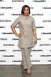 Tiffany Haddish kept it simple in a taupe tunic while visiting SiriusXM's 'Town Hall.'